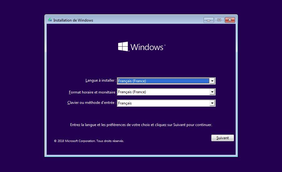 Installation de Windows choix des préférences linguistiques