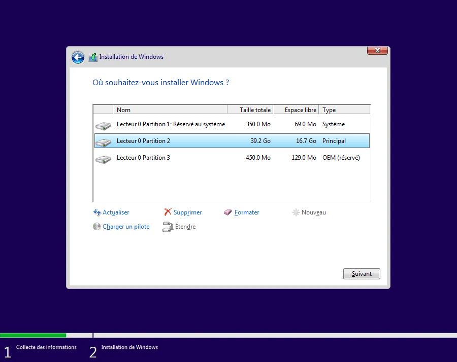 Installer Windows sur la partition principal pour réparer Windows 10