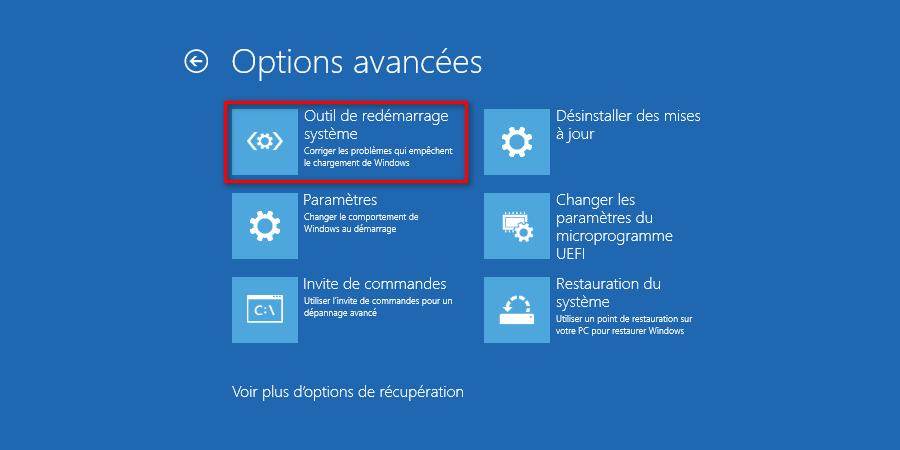 Outil de redémarrage système de Windows 10 dans les options avancées