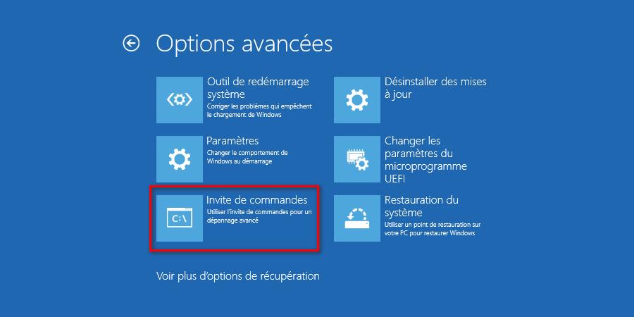 Ouvrir une invite de commandes depuis les options de démarrage avancées de Windows 10