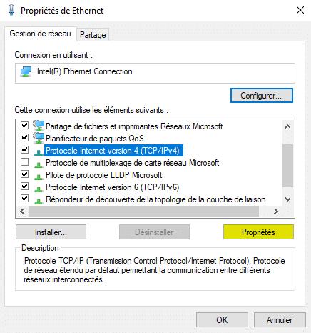 Propriétés du protocole internet version 4 TCP/IPv4 dans la gestion de réseau Windows