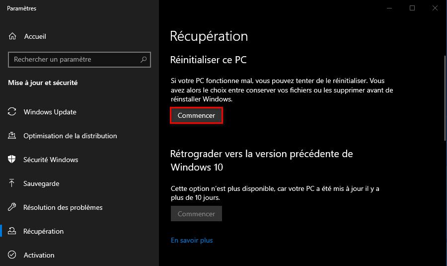 Récupération de Windows 10 réinitialiser ce PC