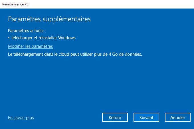 Réinitialiser Windows 10 paramètres supplémentaires