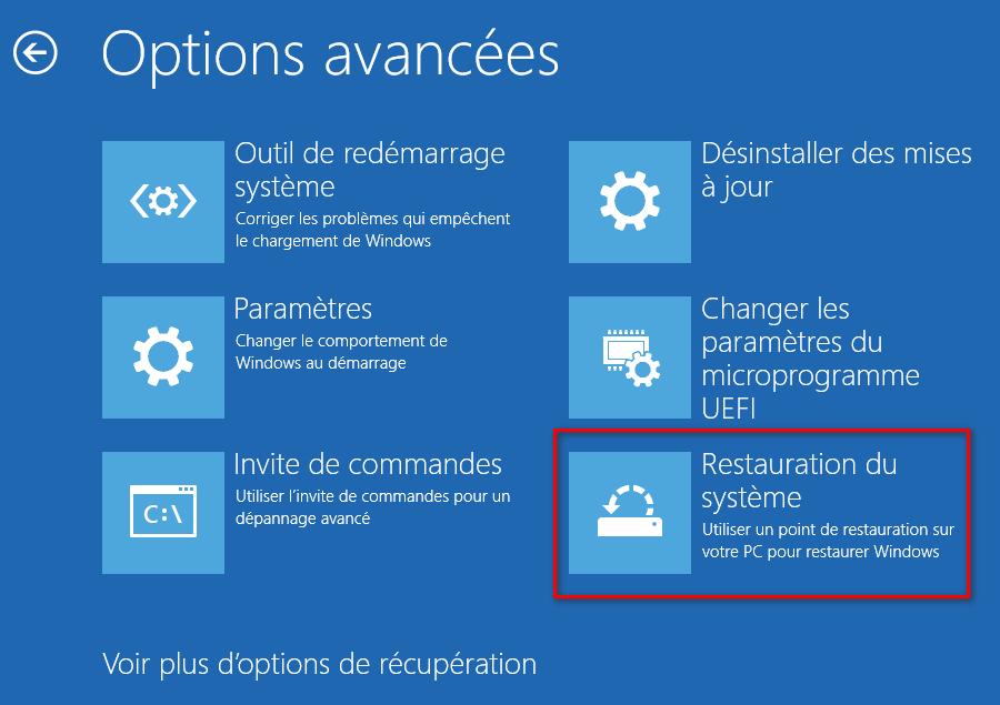 Restauration système Windows 10 avec les options avancées