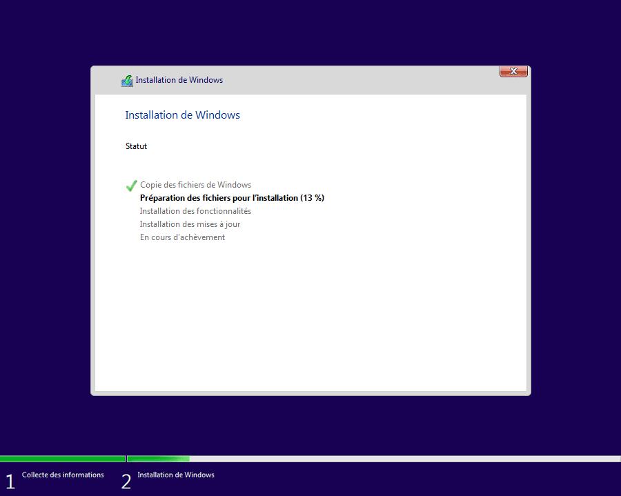 Statut de l'installation de Windows 10 en cours