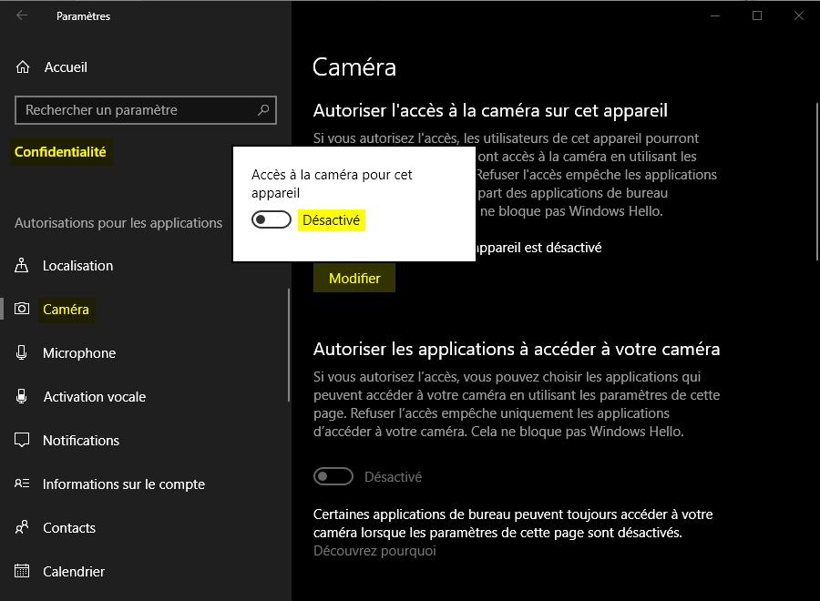 Désactiver la webcam avec les Paramètres de Windows 10