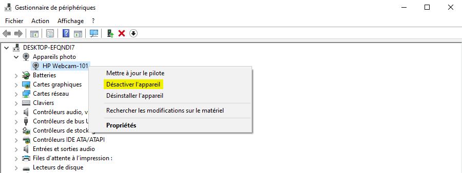 Désactiver la webcam sous Windows 10 avec le Gestionnaire de périphériques