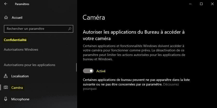 Autoriser les applications du Bureau à accéder à la caméra sous Windows 10