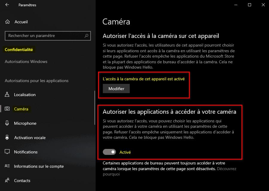 Autoriser la caméra à accéder à cet appareil et aux applications de Windows 10