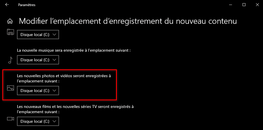 Modifier l'emplacement de l'enregistrement des photos et vidéos de l'application Caméra Windows 10