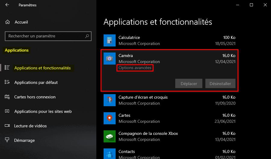 Options avancées de l'application Caméra Windows 10