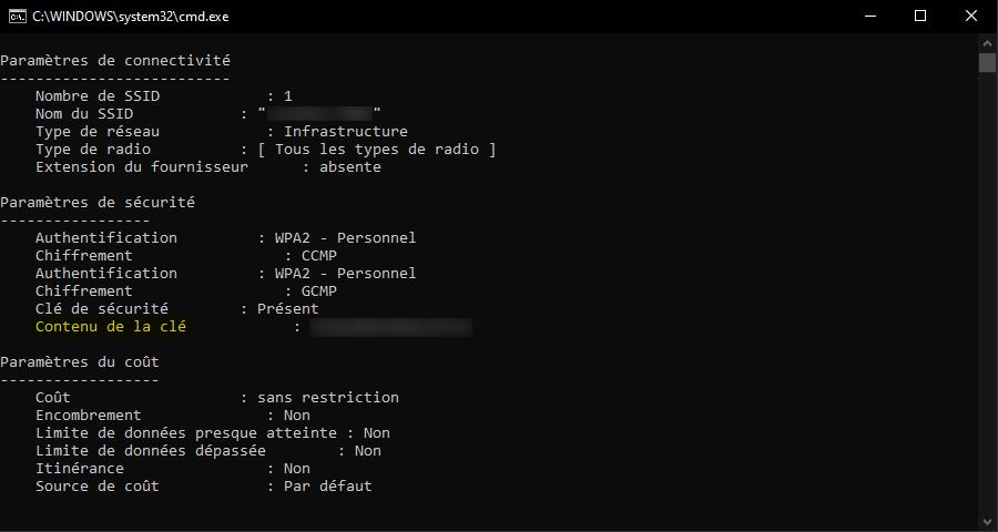 Récupérer le mot de passe WiFi sous Windows 10 avec une invite de commandes