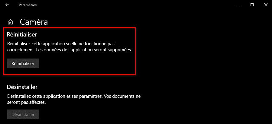 Réinitialiser l'application Caméra Windows 10