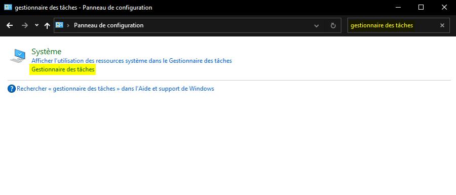 Accéder au Gestionnaire des tâches de Windows avec le Panneau de configuration