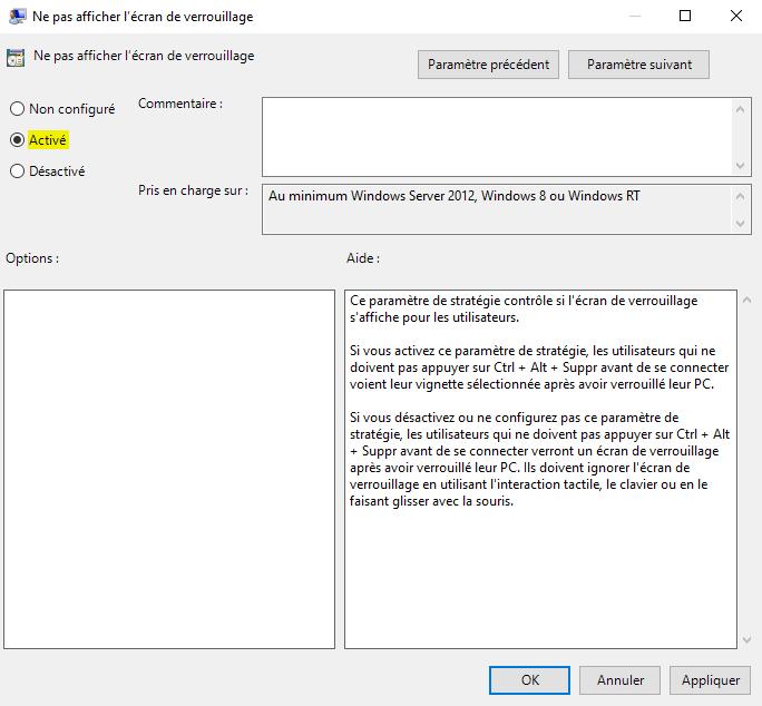 Désactiver l'écran de verrouillage sous Windows 10 avec l'Éditeur de stratégie de groupe locale