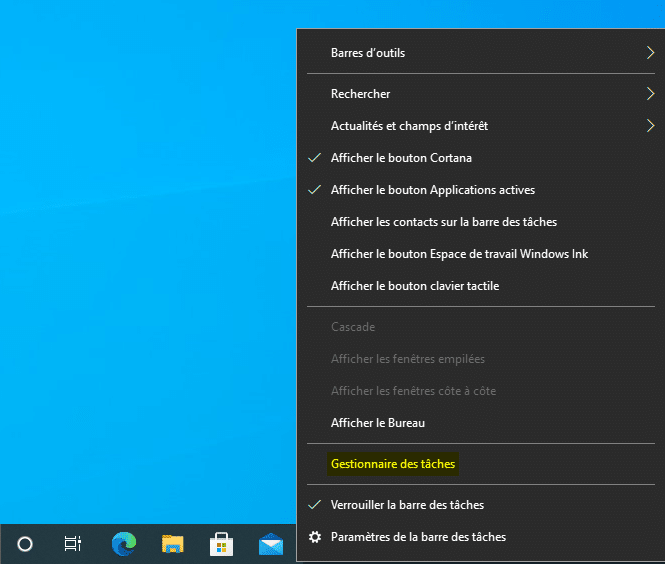 Lancer le Gestionnaire des tâches de Windows avec la barre des tâches