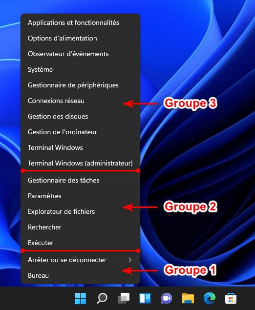 Les raccourcis par défaut du menu Lien Rapide de Windows 11