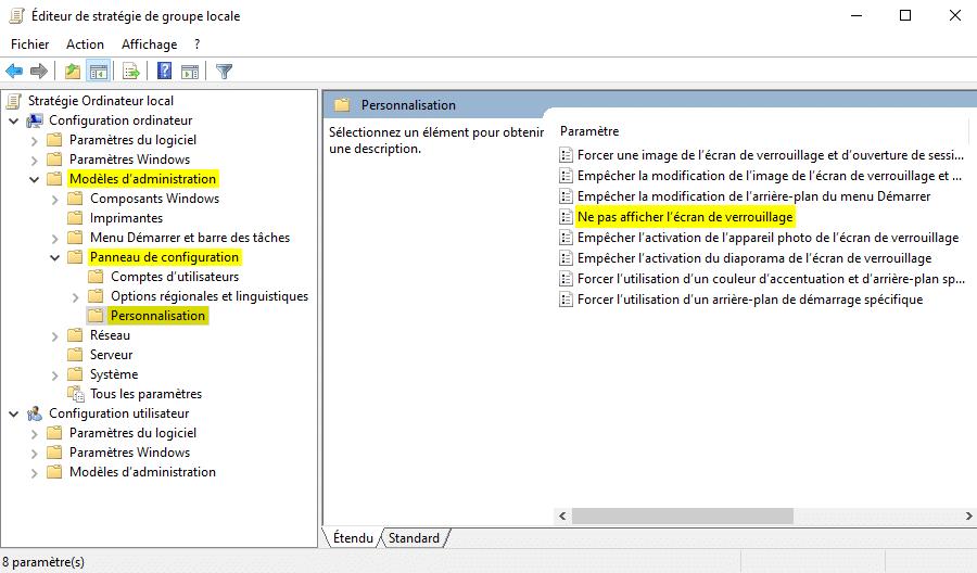 Ne pas afficher l'écran de verrouillage sous Windows 10 avec l'Éditeur de stratégie de groupe locale