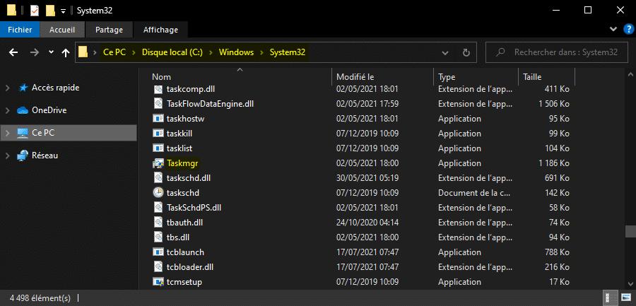 Ouvrir le Gestionnaire des tâches de Windows avec l'Explorateur de fichiers