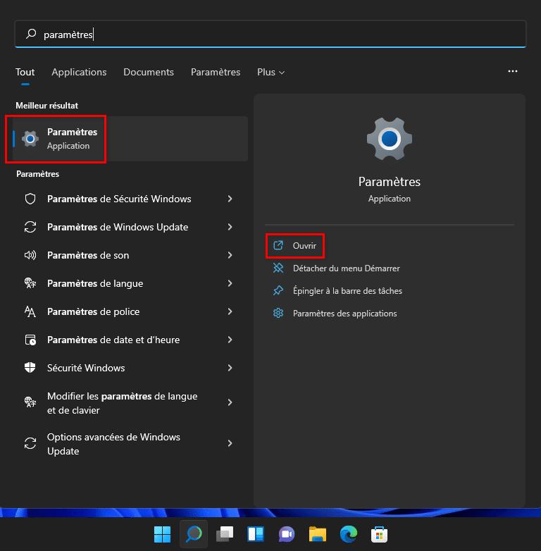 Ouvrir les Paramètres de Windows 11 avec la recherche Windows