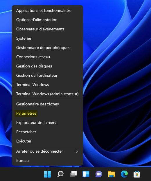 Ouvrir les Paramètres de Windows 11 avec le menu Lien Rapide