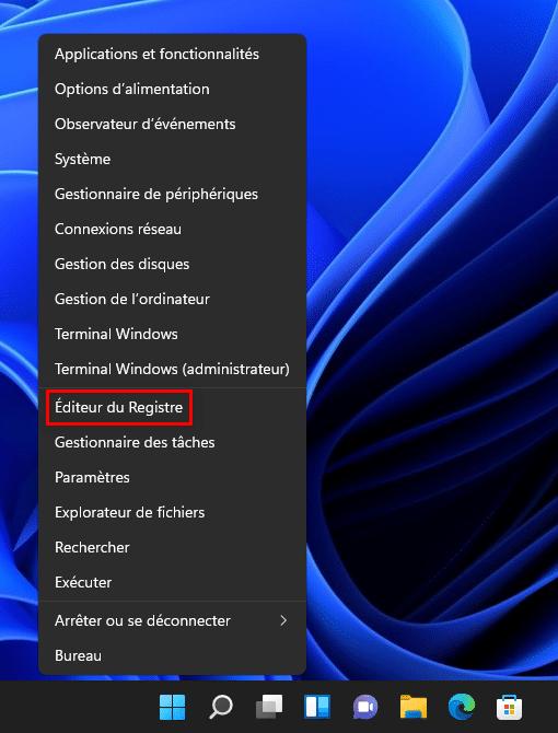 Raccourci Éditeur du Registre dans le menu Lien Rapide de Windows 11