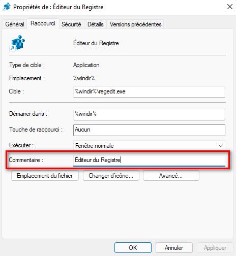 Renommer un raccourci du menu Lien Rapide de Windows 11