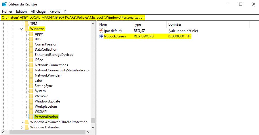 Supprimer l'écran de verrouillage de Windows 10 avec l'Éditeur du Registre