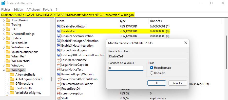 Activer la connexion sécurisée sous Windows 11 avec l'Éditeur du Registre