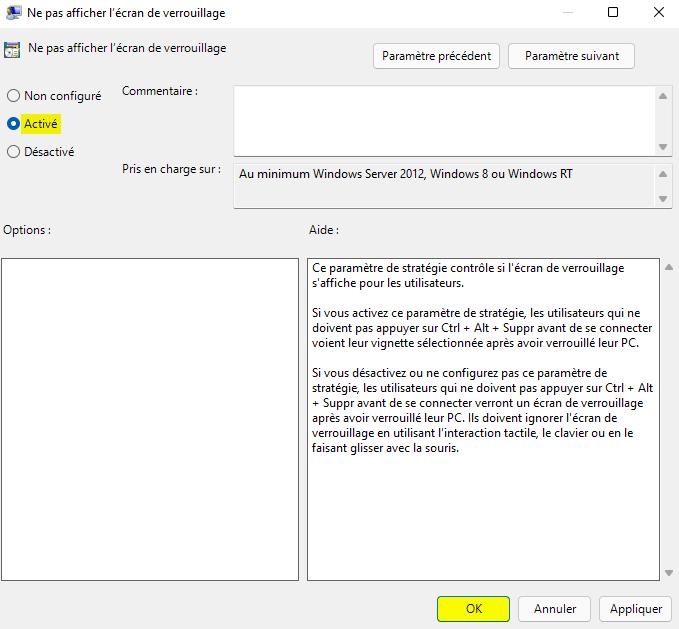 Désactiver l'écran de verrouillage Windows 11 avec l'Éditeur de stratégie de groupe locale