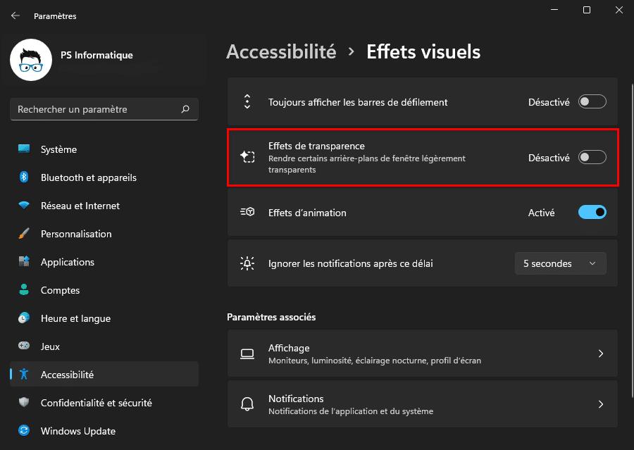 Désactiver les effets de transparence dans Windows 11 avec les paramètres d'accessibilité