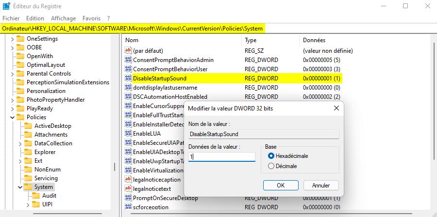 Désactiver le son de démarrage sous Windows 11 avec l'Éditeur du Registre