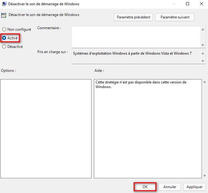 Désactiver le son de démarrage sous Windows 11 avec l'Éditeur de stratégie de groupe locale