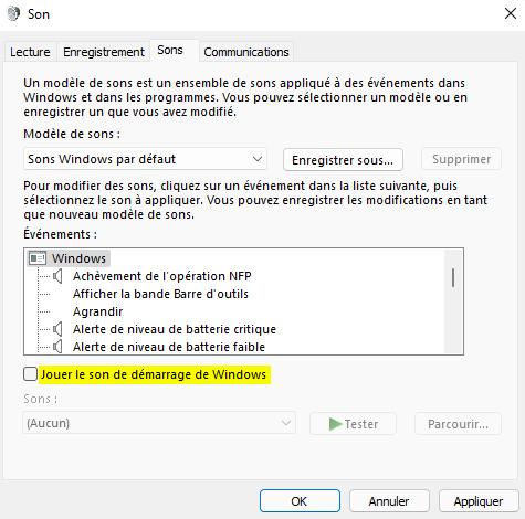 Désactiver le son de démarrage sous Windows 11 avec les paramètres de personnalisation
