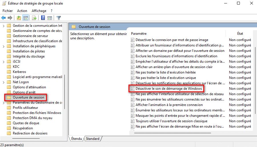 Modifier le paramètre de stratégie Désactiver le son de démarrage de Windows