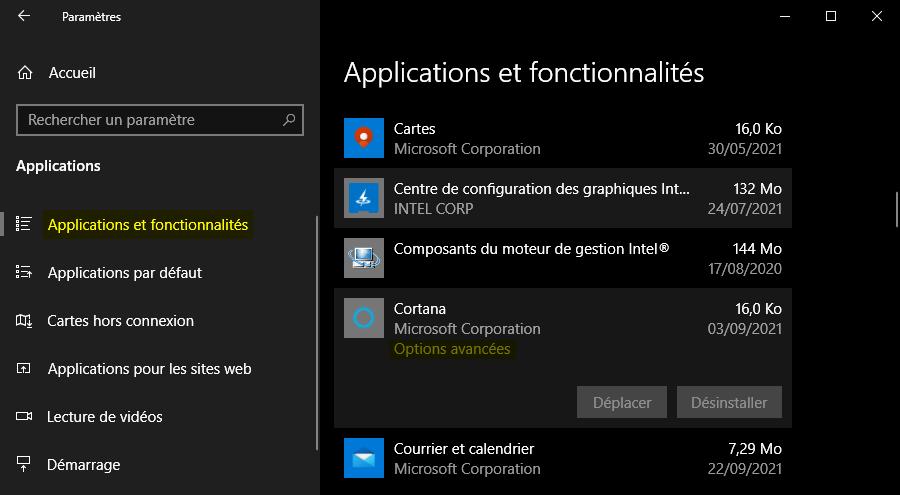 Options avancées de l'application Cortana sous Windows 10