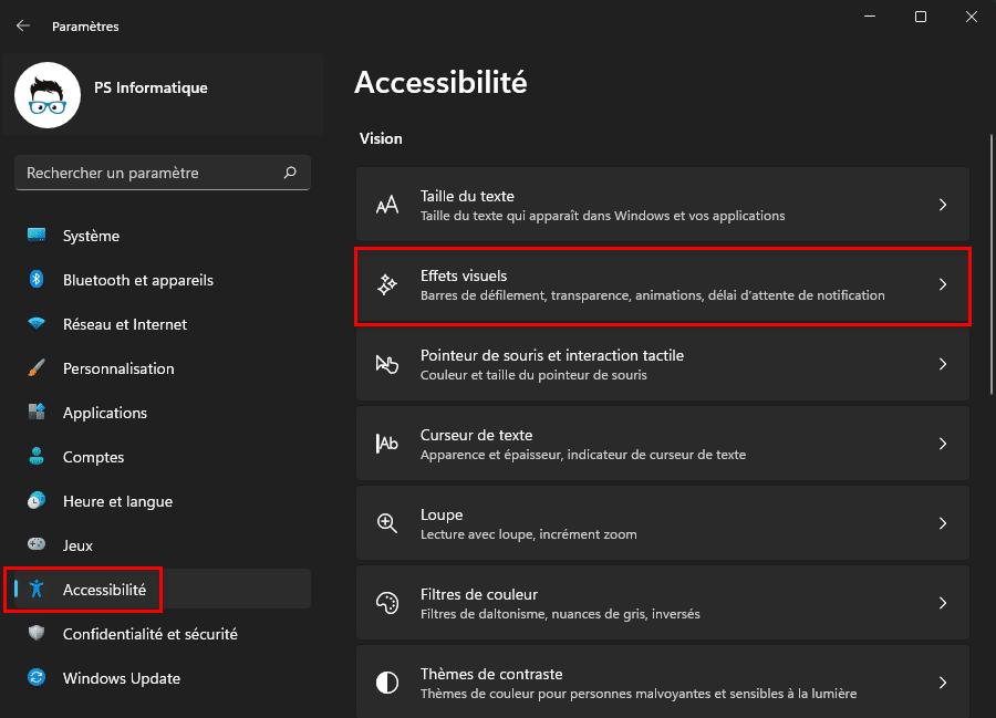 Ouvrir les paramètres d'accessibilité des effets visuels dans Windows 11