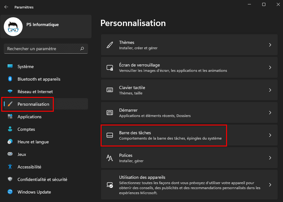 Ouvrir personnalisation de la barre des tâches dans Windows 11