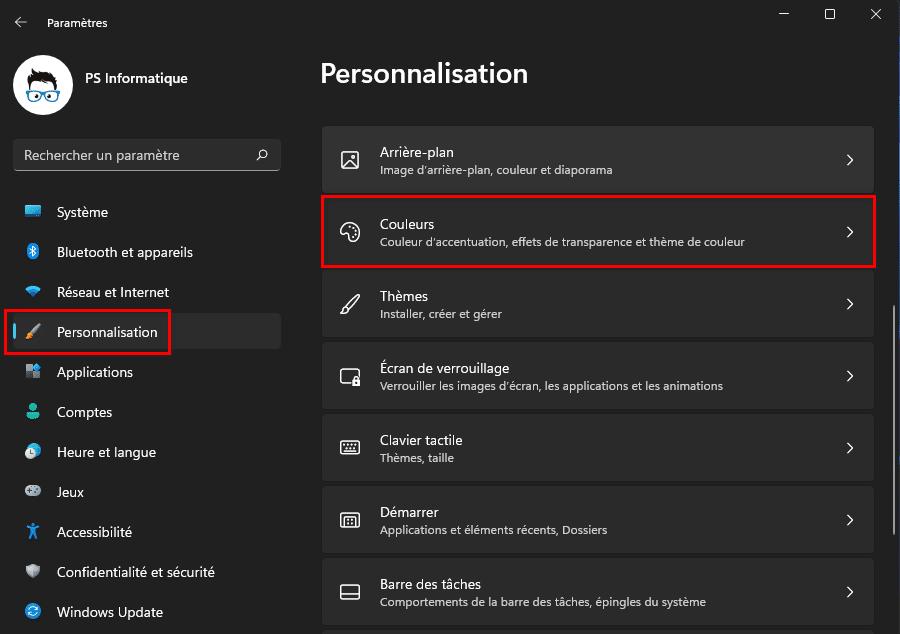 Ouvrir la personnalisation des couleurs dans Windows 11