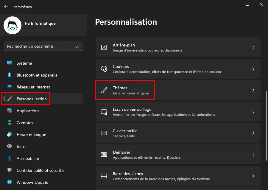 Ouvrir la personnalisation des thèmes dans Windows 11