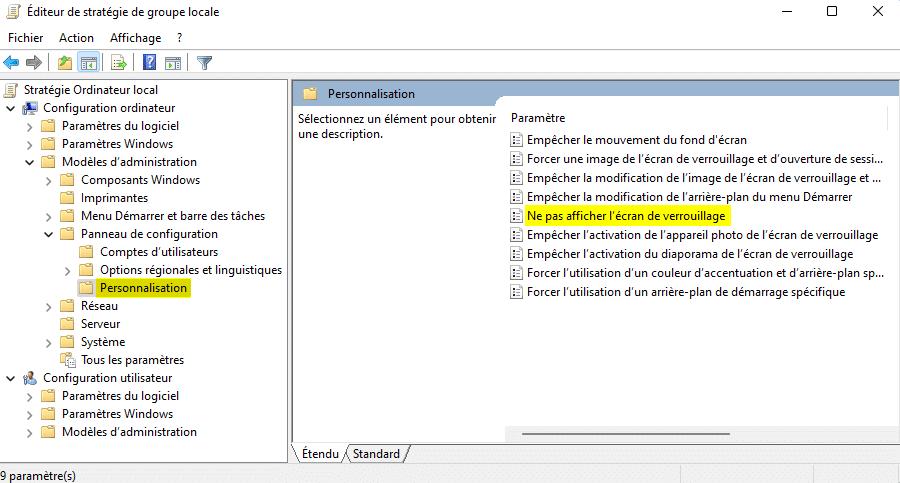 Paramètre de stratégie Ne pas afficher l'écran de verrouillage Windows 11